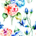Seamless wallpaper with original flowers watercolor illustration Stock Photography