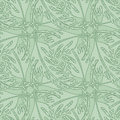 Seamless Wallpaper Pattern with Stylized Leaves Royalty Free Stock Image