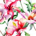 Seamless wallpaper with red lily flowers watercolor illustration Royalty Free Stock Images