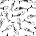 Seamless wallpaper skeleton fish Stock Photos