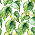 Seamless wallpaper with stinging nettle watercolor illustration Stock Photos