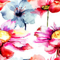 Seamless wallpaper with stylized flower watercolor illustration Royalty Free Stock Photos