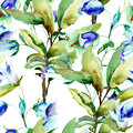 Seamless wallpaper with summer blue flowers watercolor illustration Stock Photos