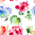Seamless wallpaper with summer flowers watercolor Stock Photos