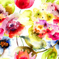 Seamless wallpaper with summer flowers watercolor painting Stock Image