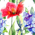 Seamless wallpaper with tulip and hydrangea flowers watercolor illustration Royalty Free Stock Image