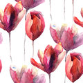 Seamless wallpaper with tulips flowers watercolor illustration Stock Photography