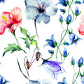 Seamless wallpaper with wild flowers watercolor illustration Royalty Free Stock Photography