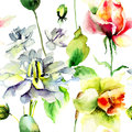 Seamless wallpaper with wild flowers watercolor illustration Stock Photography