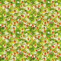 Seamless wallpaper with wild garden red strawberries berries, leaves and flowers. Watercolor art Royalty Free Stock Photo