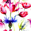 Seamless wallpapers with beautiful flower watercolor painting Stock Photos