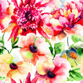 Seamless wallpapers with beautiful pink flower watercolor painting Stock Images
