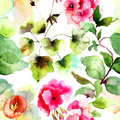 Seamless wallpapers with summer flowers watercolor illustration Stock Photography