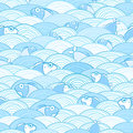 Seamless Water Fish Pattern Stock Images