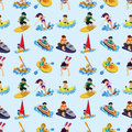Seamless water sport pattern Royalty Free Stock Photo