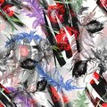 Seamless watercolor abstract background with fea thers,leaf drawings. flower rose, peony, poppy. For textiles, material