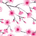 Seamless watercolor abstraction floral pattern in vintage style on white background. Vector watercolor emulation. Royalty Free Stock Photo