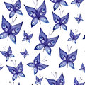 Seamless watercolor background consisting of blue butterflies Royalty Free Stock Photo