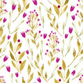 Seamless watercolor background consisting of flowers and berries pink tulips branches with yellow leaves pink Stock Images