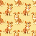 Seamless watercolor brown dog pattern funny happy