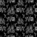 Seamless watercolor cactuses plant pattern Royalty Free Stock Photo