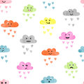 Seamless watercolor clouds pattern. Rain of colorful hearts. Royalty Free Stock Photo