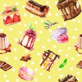Seamless watercolor desserts