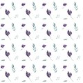 Seamless watercolor floral pattern with purple flowers and green leaves