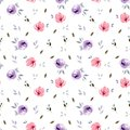 Seamless watercolor flower pattern with leaves. Isolated on a white background