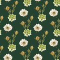 Seamless watercolor flowers pattern. Hand painted flowers on a white background. Hand painted flowers of different colors. Flowers