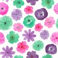 Seamless watercolor flowers on a white background