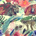 Seamless watercolor hand drawn pattern with indian cow, leaves, flowers. Royalty Free Stock Photo