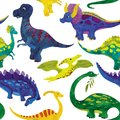 Seamless watercolor illustration of dinosaurs