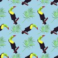 Seamless watercolor illustration of toucan bird.Tropical leaves, dense jungle. Pattern with tropic summertime motif. palm leaves.