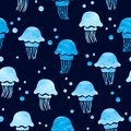 Seamless watercolor jellyfish pattern. Vector blue sea background Royalty Free Stock Photo