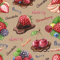 Seamless watercolor pattern with berry illustrations Stock Photos
