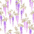 Seamless watercolor pattern, clusters of light violet wisteria flowers.