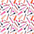 Seamless watercolor pattern with colored lipstick and gloss lip.