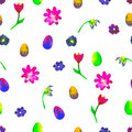 Seamless watercolor pattern. Colourful eggs and flowers on white background. Bright hand drawn illustration. Happy Easter.