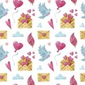 Seamless Watercolor pattern with doves