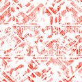 Seamless watercolor pattern. Ethnic and tribal motifs. Color living coral and white. Vector illustration