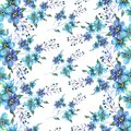 Seamless Watercolor pattern with flowers forget-me-nots on a white background
