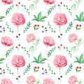 Abstract flowers and leaves seamless pattern, vector background. Blue   pink  on a white . Hand drawing for design of wallpaper, f