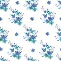 Seamless Watercolor pattern with forget-me-nots flowers on a white background