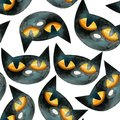 A seamless watercolor pattern consisting of the heads of black cats.