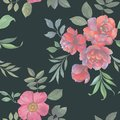 Seamless watercolor pattern. Illustration of flowers and leaves.