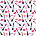 Seamless watercolor pattern with lipstick