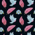 Watercolor seamless pattern with pigeons, feathers, flowers and birds Royalty Free Stock Photo