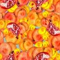 Seamless watercolor pattern with slices fruits, pomegranate fruit, peach fruit, plum, apricot, watermelon. Orange, purple