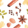 Seamless watercolor pattern with spices on the